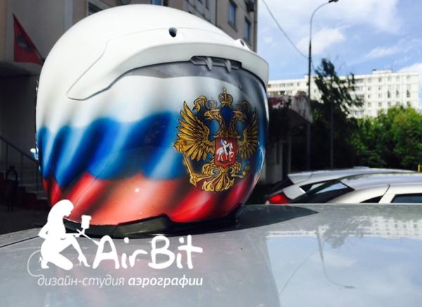 """Аэрография на шлеме """"Герб России"""""""